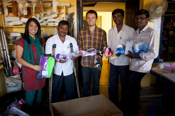 L to R: Andrea, Muttana, volunteer Liander, office manager Prakarippa, orthotist apprentice Mantesh